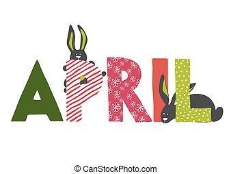 Illustration of April month name.