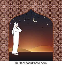 Arab man calling for prayer