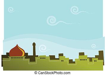 illustration of arabian kingdom, suitable for children story book