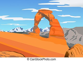 Illustration of Arches park - An illustration of Iconic arch...