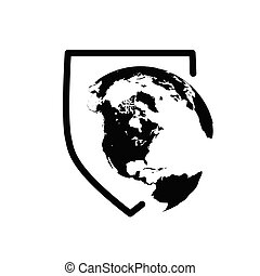 Illustration of ashield icon with a world globe, Vector illustration isolated on white background.