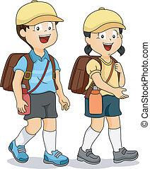 Illustration of Asian Students Walking on the Student Sidewalk