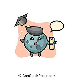 Illustration of asteroid cartoon throwing the hat at graduation