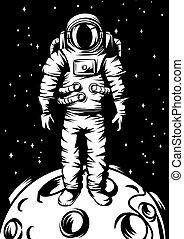 Illustration of astronaut on moon.