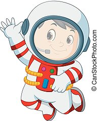 astronaut outfit waving hand
