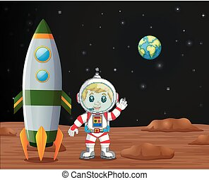 Astronaut standing on planet illustration