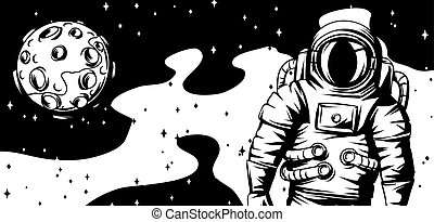 Illustration of astronaut with moon.