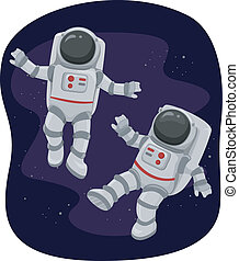 Astronauts Floating in Space - Illustration of Astronauts ...