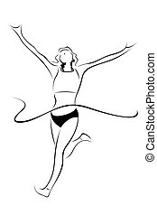 athlete sketch - illustration of athlete sketch on white...