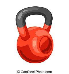 Illustration of athletic red kettlebell. Fitness sport ...