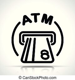 atm icon on white background - Illustration of atm icon on...