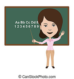 illustration of atractive teacher lecturing in a classroom.