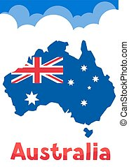 Illustration of Australia map with flag and clouds.