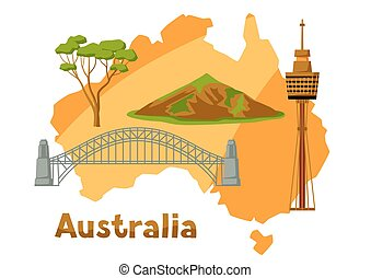Illustration of Australia map with tourist attractions. -...