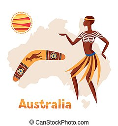 Illustration of Australia map with woman aboriginal and...