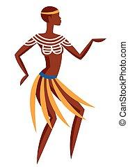 Illustration of Australian aborigine woman dancing in...