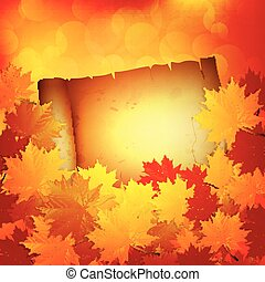 Autumn background with leaves and a