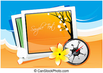 autumn card with compass