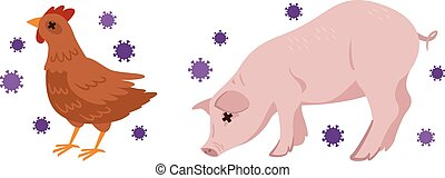 Illustration of avian influenza and swine flu