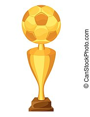 Illustration of award with soccer ball on white background