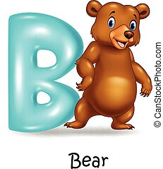 Illustration of B letter for Bear