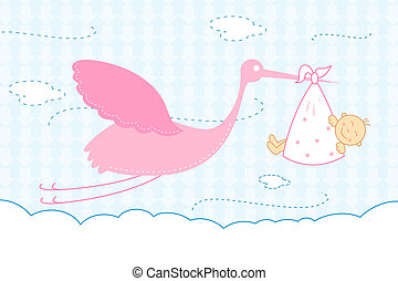 baby arrival announcement card - illustration of baby ...
