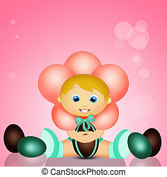 baby at Easter with chocolate eggs - Illustration of baby at...