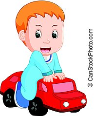 baby Boy plays with a toy car
