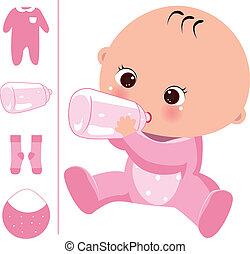 baby girl in the milk