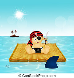 baby pirate on floating raft - illustration of baby pirate...