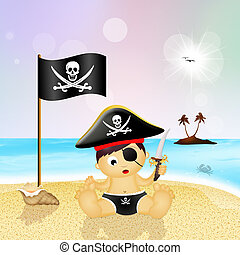 baby pirate on the beach