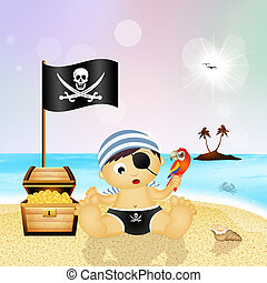 baby pirate with treasure chest