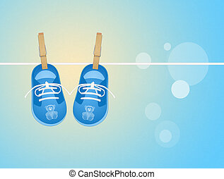 baby shoes hanging - illustration of baby shoes hanging