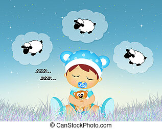 illustration of baby sleeping