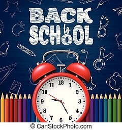 Back to school background with doodle elements on chalkboard, clock and colorful pencils