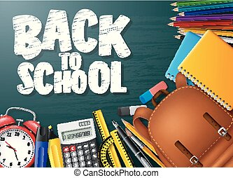 Back to school background with stationery and school supplies