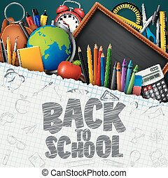 Back to School banner with school supplies on blue chalkboard background