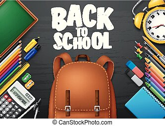 Back to School with School supplies on blackboard background