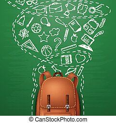 Backpack and Back to school background, with doodle elements on chalkboard