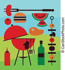 Illustration of backyard barbecue scene, illustration