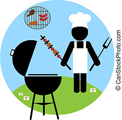 Illustration of backyard bbq scene - 2