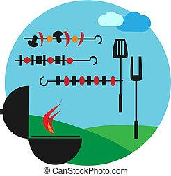 Illustration of backyard bbq scene