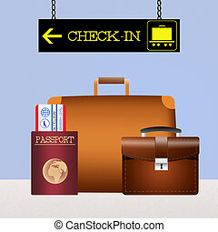 baggage checked - illustration of baggage checked
