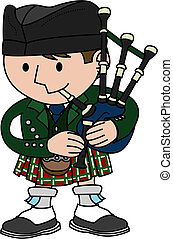 Illustration of bagpiper - Illustration of male Scottish...