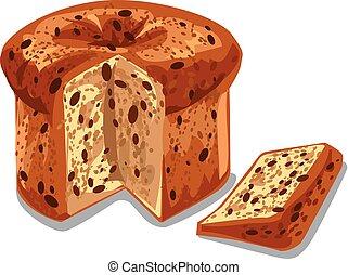 baked panettone cake - illustration of baked panettone cake ...
