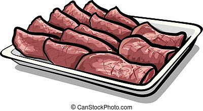 baked sliced veal - illustration of baked sliced veal on the...