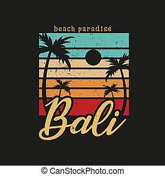 Illustration of bali beach paradise for surf