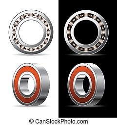 Illustration of ball bearings on a white and black background. Vector.