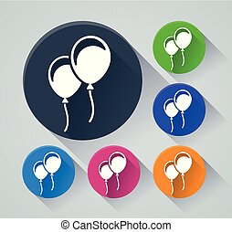 ballons circle icons with shadow