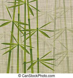 bamboo on linen - illustration of bamboo on linen